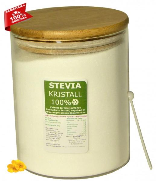 Stevia Kristall Glas mit Bambusdeckel - 500g