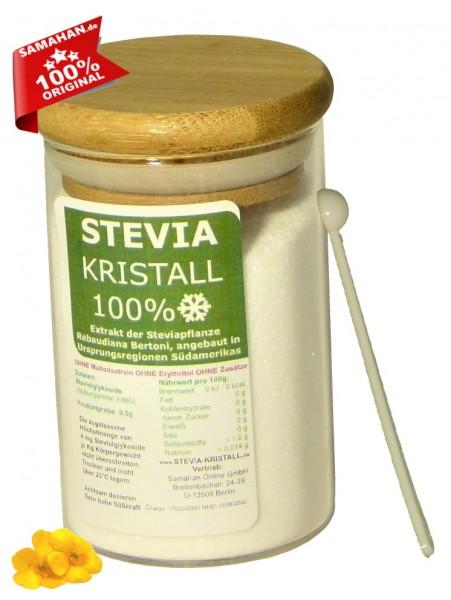Stevia Kristall Glas mit Bambusdeckel - 75g